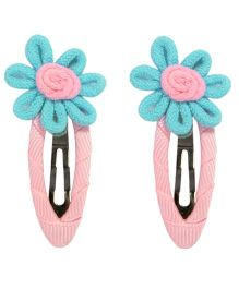 Miss Diva Hand Crafted Flower Snap Clips - Turquoise