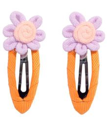 Miss Diva Hand Crafted Flower Snap Clips - Purple