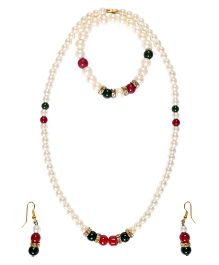 Miss Diva Pearl Necklace Ear Rings & Bracelet Set - Off White Green Red