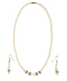Miss Diva Pearl Necklace & Ear Rings Set - Off White & Golden
