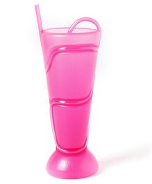 ShopAParty Plastic Glass With Straw - Pink