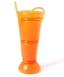ShopAParty Plastic Glass With Straw - Orange