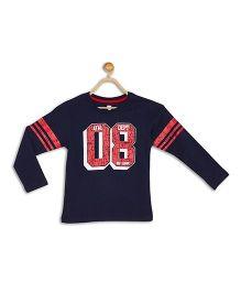 612 League Full Sleeves T-Shirt Numeric 08 Print - Navy Blue