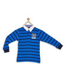 612 League Full Sleeves Stripe T-Shirt Numeric 08 Embroidery - Royal Blue