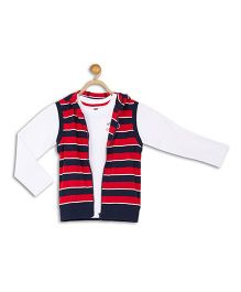 612 League Full Sleeves T-Shirt With Hooded Stripe Jacket - Red Navy White