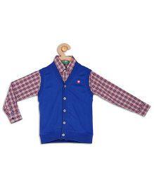 612 League Full Sleeves Checks Shirt With Waistcoat - Royal Blue