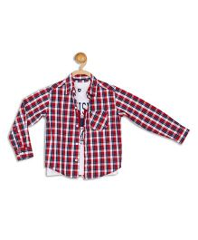612 League Full Sleeves Check Shirt With T-Shirt - Red White