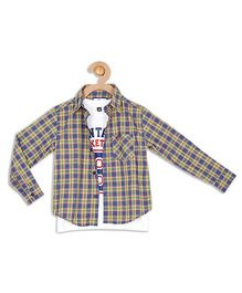612 League Full Sleeves Check Shirt With T-Shirt - Blue Yellow