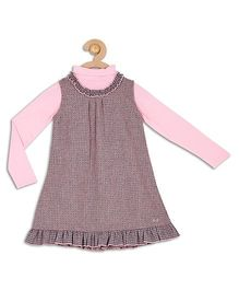 612 League Checks Frock With Full Sleeves Inner Top - Pink