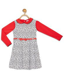 612 League Sleeveless Frock With Inner Top And Belt - Red White