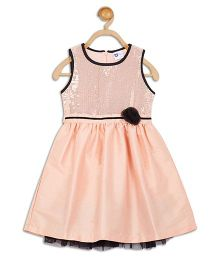 612 League Sleeveless Party Dress Flower Applique - Peach