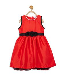 612 League Sleeveless Party Dress Flower Applique - Red