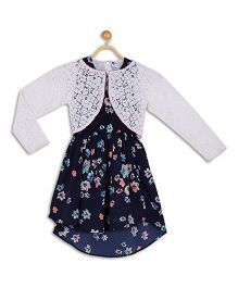 612 League Sleeveless Asymmetrical Party Frock With Lace Shrug Floral Print - Navy White
