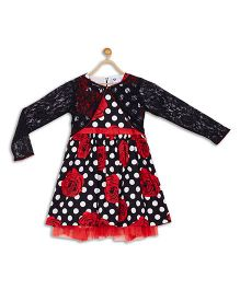612 League Sleeveless Party Frock With Lace Shrug Floral Print - Black Red