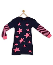 612 League Full Sleeves Frock Star Design - Navy