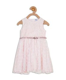 612 League Sleeveless Lace Party Dress With Belt- Light Pink