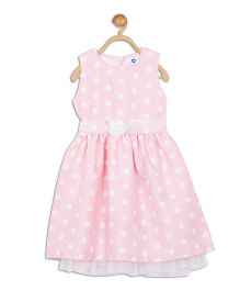 612 League Sleeveless Polka Dot Party Frock Flower Applique - Light Pink