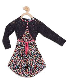 612 League Sleeveless Floral Print Dress With Lace Shrug - Black