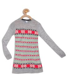 612 League Full Sleeves Nordic Design Sweater Dress - Grey