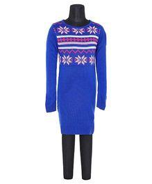 612 League Computerised Yoke Sweater Dress - Deep Royal Blue