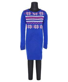 612 League Computerised Yoke Sweater Dress - Deep Royal Blue