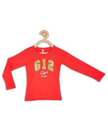 612 League Full Sleeves Sequinned T-Shirt - Red