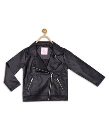 612 League Full Sleeves Leather Jacket - Black