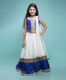 Shilpi Datta Som Lehenga Choli & Dupatta Set - Off White & Royal Blue