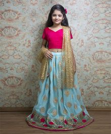 Shilpi Datta Som Lehenga Choli & Dupatta Set - Light Blue Fucshia & Beige