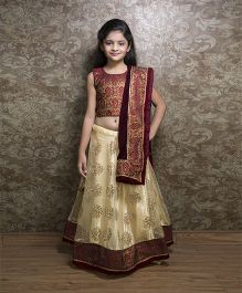 Shilpi Datta Som Lehenga Choli & Dupatta Set - Cream & Maroon