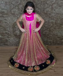 Shilpi Datta Som Anarkali Churidar & Dupatta Set - Beige & Fushia
