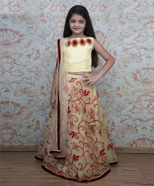 Shilpi Datta Som Embroidered Lehenga With Choli & Dupatta - Beige & Yellow