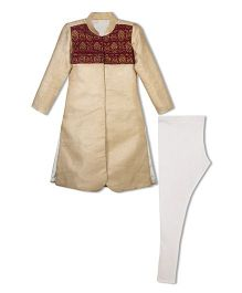 Shilpi Datta Som Sherwani Set With Brocade Work - Cream & Maroon