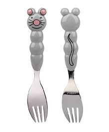 Eat4Fun Animos Kids Fork Mouse - Grey