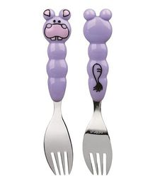 Eat4Fun Animos Kids Fork Hippo - Purple