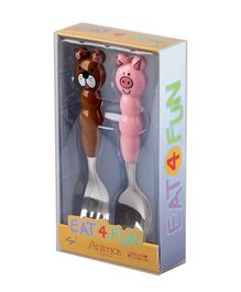 Eat4Fun Animos Kids Cutlery Gift Set Piggy and Bear Pack of 2 - Brown and Pink