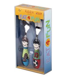 Eat4Fun Kiddos Kids Cutlery Gift Set Chris Tony Pack of 2 - Multi Color