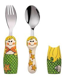 Eat4Fun Duo Kids Flatware Set Mermaid Pack of Fork Spoon and 2 Holders - Yellow Green