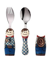 Eat4Fun Duo Kids Flatware Set Cowboy Pack of Fork Spoon and 1 Holder - Blue