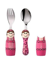 Eat4Fun Duo Kids Flatware Set Ballerina Pack of Fork Spoon and 2 Holders - Pink