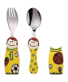 Eat4Fun Duo Kids Flatware Set Sports Boy Pack of Fork Spoon and 2 Holders - Yellow