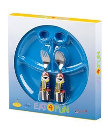 Eat4Fun Sectioned Plate Pirate Spoon and Fork Set - Blue Red