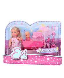 Evi Love Doll With Baby Doll And Cradle Pink - 5 Inches