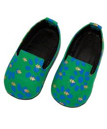 SnugOns Floral Print Baby Shoes - Green & Blue