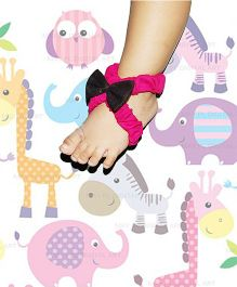 SnugOns Barefoot Sandals With Bow - Pink & Black