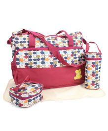 Diaper Bag Set Multi Stem Print Maroon - 4 Pieces