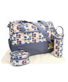 Diaper Bag Set Multi Stem Print Dark Grey - 4 Pieces