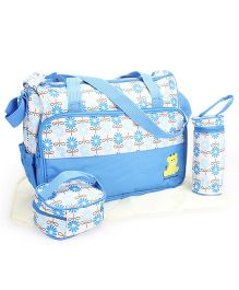 Diaper Bag Set Floral Print Blue - 4 Pieces