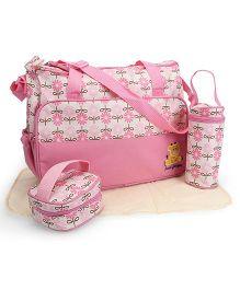 Diaper Bag Set Floral Print Pink - 4 Pieces