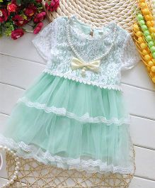 Pikaboo Short Sleeves Dress With Pearls - Sea Green